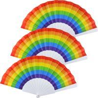 Merkloos 4x Spaanse hand waaiers regenboog/rainbow/pride vlag 14 x 23 cm -