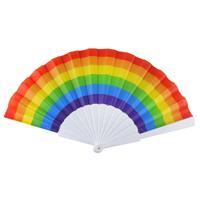 Merkloos 1x Spaanse hand waaiers regenboog/rainbow/pride vlag 14 x 23 cm -