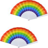 Merkloos 2x Spaanse hand waaiers regenboog/rainbow/pride vlag 14 x 23 cm -