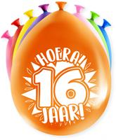 Paper Dreams ballonnen Party 16 jaar 18,5 x 11 cm latex 8 stuks