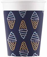 Procos feestbekers ijsjes 200 ml karton zwart 8 stuks