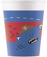 Procos feestbekers piraten 200 ml karton blauw/rood 8 stuks
