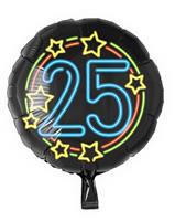 Paper Dreams folieballon cijfer 25 rond 46 cm zwart/blauw