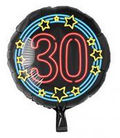 Paper Dreams folieballon cijfer 30 rond 46 cm zwart/blauw