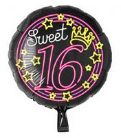 Paper Dreams folieballon Sweet 16 rond 46 cm zwart/roze