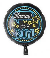 Paper Dreams folieballon Hooray! It's a boy! 46 cm zwart/blauw