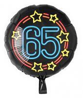 Paper Dreams folieballon cijfer 65 rond 46 cm zwart/blauw