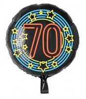Paper Dreams folieballon cijfer 70 rond 46 cm zwart/blauw