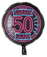 Paper Dreams folieballon Sarah 50 jaar rond 46 cm zwart/roze