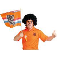 Folat 2x stuks Oranje zwaaivlag Holland met leeuw -