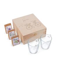 YourSurprise Houten theekist met twee glazen en drie verschillende theesoorten