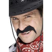 Smiffys 2x stuks cowboy verkleed snor -