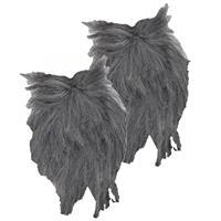 Smiffys 2x stuks lange grijze verkleed baard en snor -