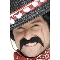 Smiffys 2x stuks mexicaanse/cowboy verkleed nep/plak snor -