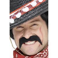 Smiffys 4x stuks mexicaanse/cowboy verkleed nep/plak snor -