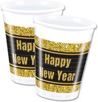 Procos bekers happy new year 200 ml plastic goud zwart 8 st.