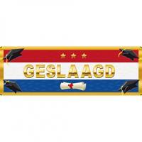 Merkloos 3x stuks stickers Geslaagd Nederlandse vlag 19,6 x 6,5 cm -