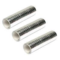 Merkloos Pakket van 4x stuks serpentine rollen metallic zilver 4 meter -