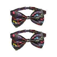 Merkloos 2x stuks zwarte verkleed vlinderstrikje met muzieknoten -