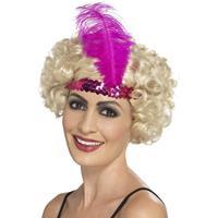 Merkloos 2x stuks roze Charleston thema verkleed hoofdband voor dames