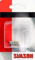 schroefnippels 14 x 6 mm zilver 2 stuks