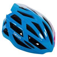 fietshelm dames blauw/wit/roze 58 61 cm