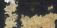 SD Toys Game Of Thrones Glass Poster Westeros Map 50 x 25 cm