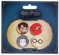 Carat Shop, The Harry Potter Cutie Button Badge 4-Pack Harry Potter & Hedwig
