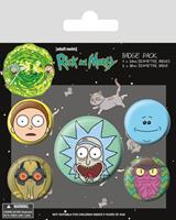 Pyramid International Rick and Morty Pin Badges 5-Pack Heads