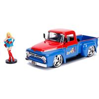 Jada Toys DC Bombshells Diecast Model Hollywood Rides 1/24 1956 Ford F100 with Super Girl Figure