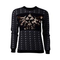 Difuzed The Legend of Zelda Ladies Knitted Christmas Sweater Tri-Force Glitter Size L