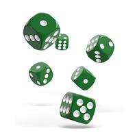 Oakie Doakie Dice D6 Dice 16 mm Solid - Green (12)