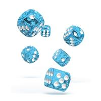 Oakie Doakie Dice D6 Dice 16 mm Speckled - Light Blue (12)