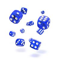 Oakie Doakie Dice D6 Dice 12 mm Translucent - Blue (36)