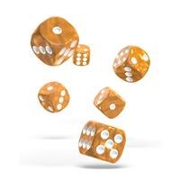 Oakie Doakie Dice D6 Dice 16 mm Marble - Orange (12)