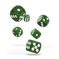 Oakie Doakie Dice D6 Dice 16 mm Marble - Green (12)