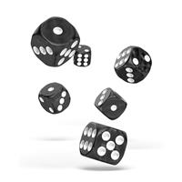Oakie Doakie Dice D6 Dice 16 mm Marble - Black (12)