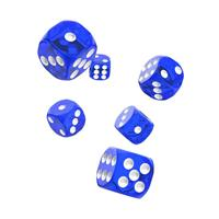 Oakie Doakie Dice D6 Dice 16 mm Translucent - Blue (12)