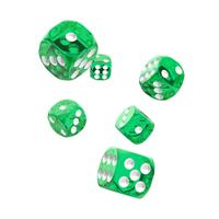 Oakie Doakie Dice D6 Dice 16 mm Translucent - Green (12)
