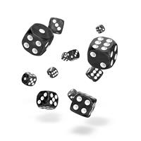 Oakie Doakie Dice D6 Dice 12 mm Marble - Black (36)