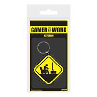 Pyramid International Gamer At Work Rubber Keychain Caution Sign 6 cm