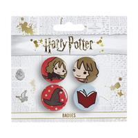 Carat Shop, The Harry Potter Cutie Button Badge 4-Pack Hermione & Sorting Hat & Book