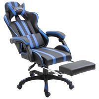 Gamingstoel met voetensteun PU blauw