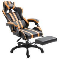 Gamingstoel met voetensteun PU oranje