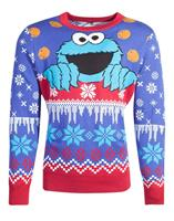 Difuzed Sesame Street Knitted Christmas Sweater Cookie Monster Size L