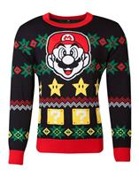 Nintendo Knitted Christmas Sweater Super Mario Night Size M