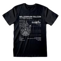 Heroes Inc Star Wars T-Shirt Millenium Falcon Sketch Size M