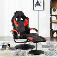 Racestoel verstelbaar met voetenbankje kunstleer rood