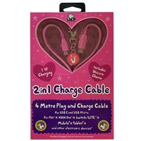 imp 2in1 4m Pink Charge Cable with Unicorn Charm Pink