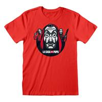 Heroes Inc Money Heist T-Shirt Circle And Logo Size L